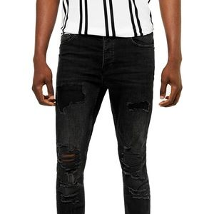 Topman Black Stretch Skinny Rip Knee Denim Sz34